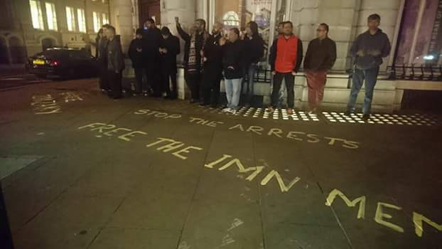 protest against ban of imn in london