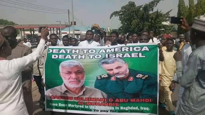 protest in ABJ condemning USA on killing suleimani on 3rd of Jan 2020
