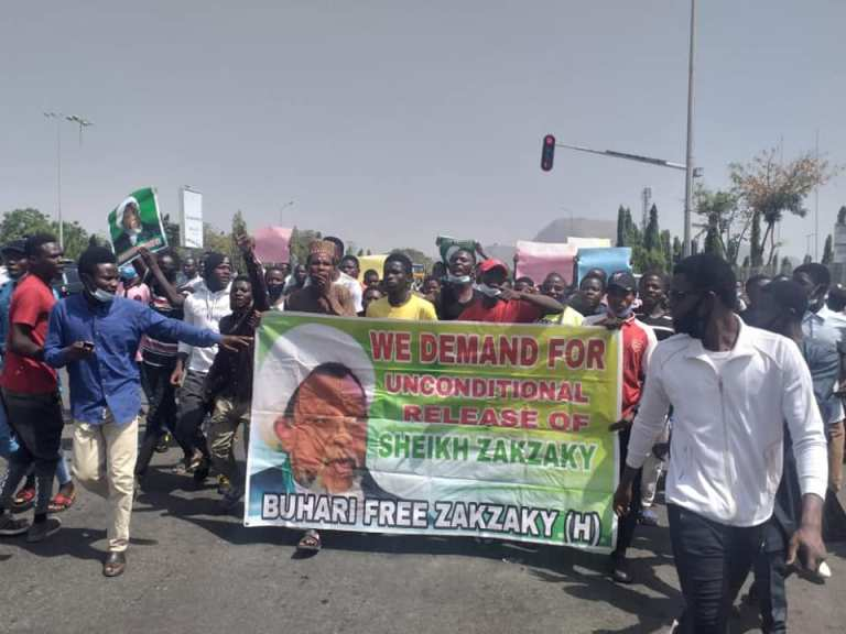 free zakzaky protest in abj on mon 25 jan 2021