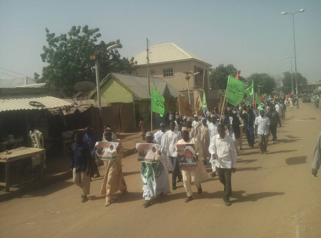free zakzaky protest in azare for medical care