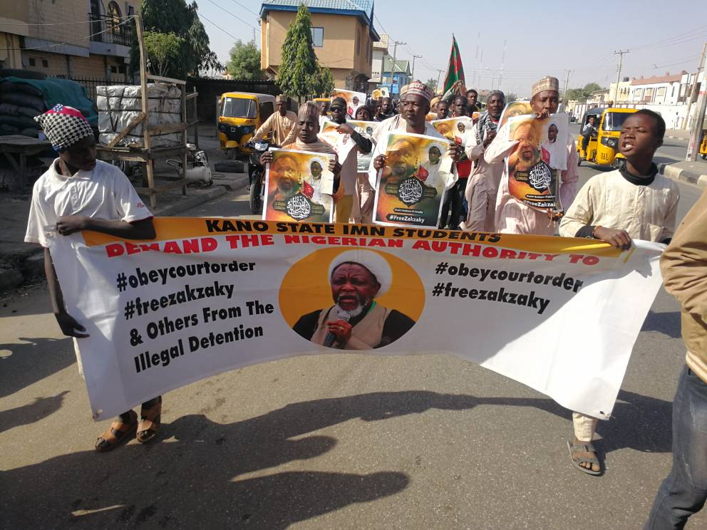 free zakzaky protest in kano for medical care