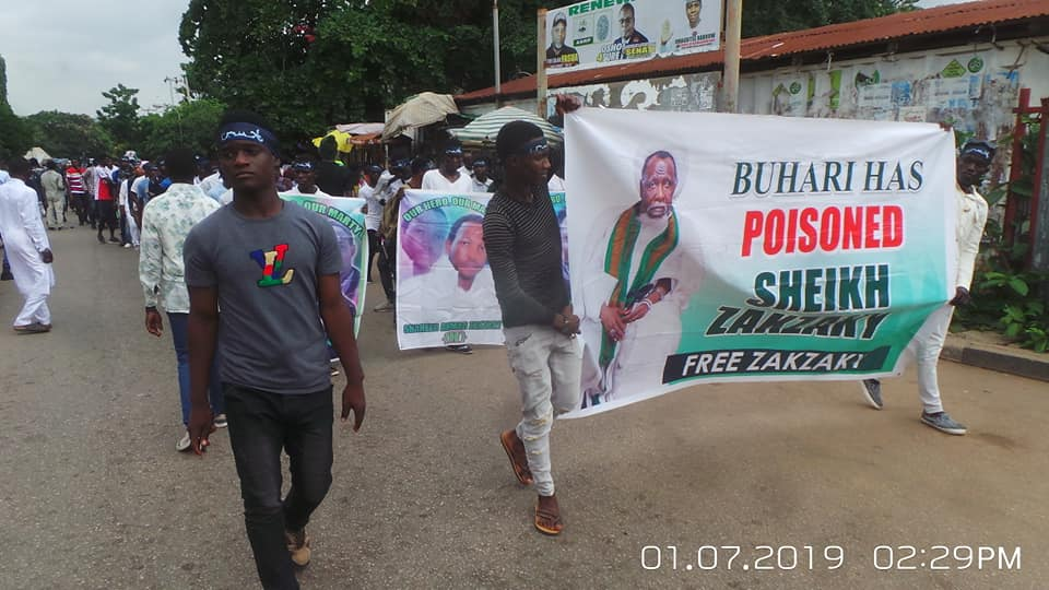 free zakzaky protest in Abuja on 1st july 2019